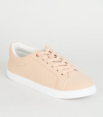 Nude Matte Lace Up Trainers