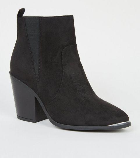 ... Wide Fit - Bottes Western noires en suédine à détail en métal ... 302ed1b6fcb0