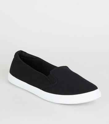 Black Canvas Slip On Trainers