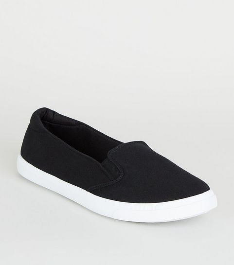 low priced 67ec5 54c77 ... Black Canvas Slip On Trainers ...