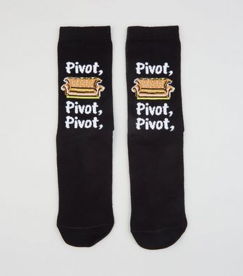 Black Friends Pivot Slogan Socks