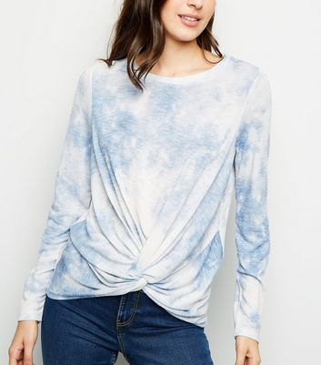 Blue Tie Dye Twist Hem Fine Knit Top