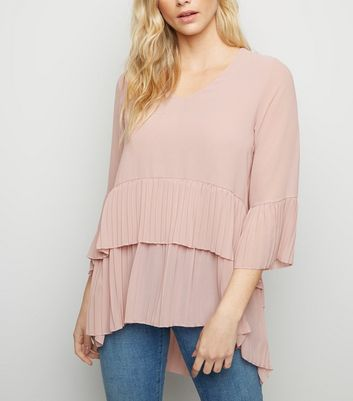 Mela Pale Pink Pleated Tunic Top