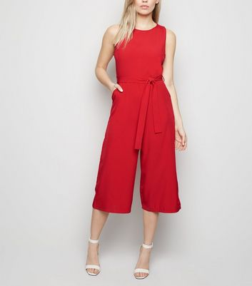 Mela Red Belted Culotte Jumpsuit