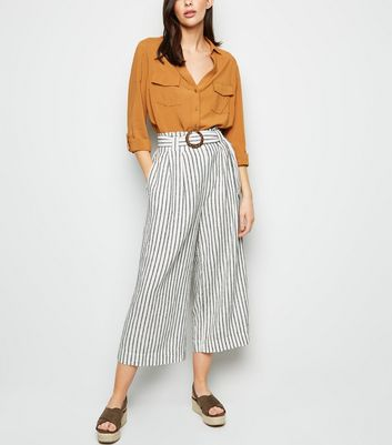 Off White Stripe Linen Blend Trousers