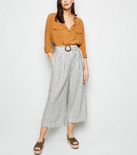 3486b0e4eb07 ... Off White Stripe Linen Blend Trousers ...