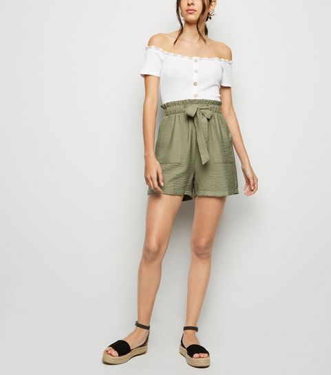 090a3776832 Olive Twill Paperbag Shorts · Olive Twill Paperbag Shorts ...