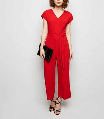 Mela Red Cap Sleeve Culotte Jumpsuit