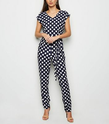 Mela Navy Polka Dot Jumpsuit