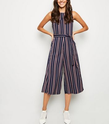 Mela Navy Multi Stripe Culotte Jumpsuit
