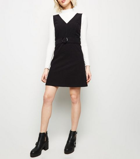 Black Corduroy Belted Pinafore Dress New Look