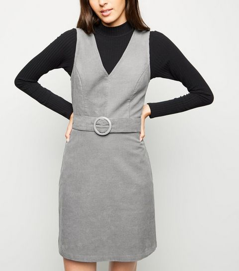 6f09d90a4ff63 ... Grey Corduroy Belted Pinafore Dress ...