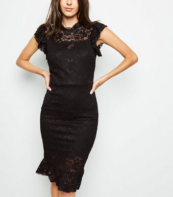 Mela Black Lace High Neck Bodycon Dress