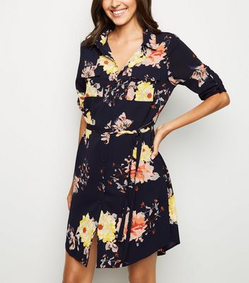 Mela Navy Floral Shirt Dress
