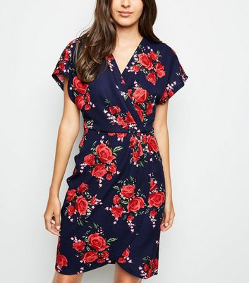 Mela Navy Floral Wrap Front Dress