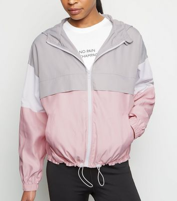 Pink Colour Block Sports Windbreaker