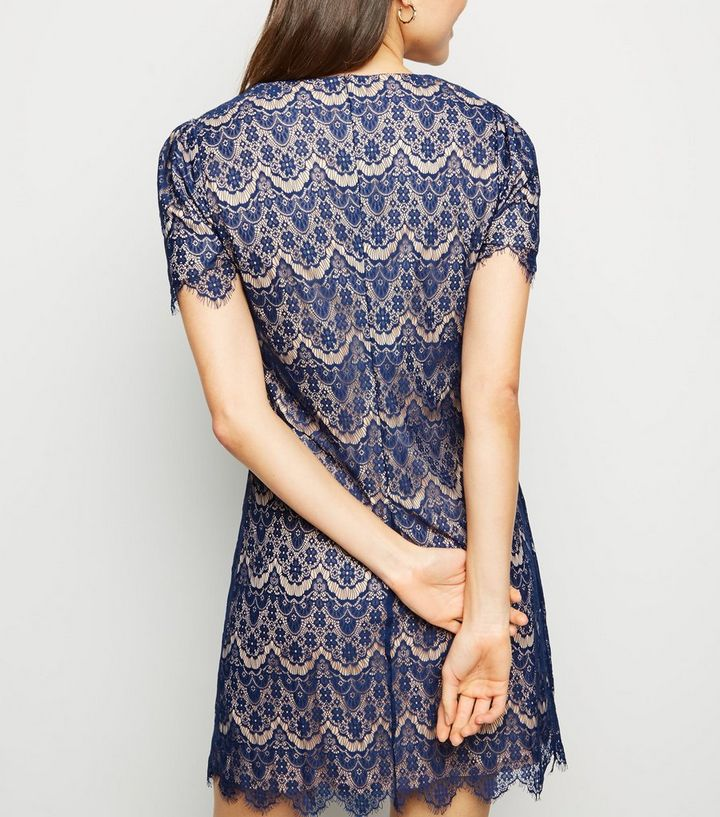 ff4a9480ab2c Mela Blue Lace Pattern Mini Dress