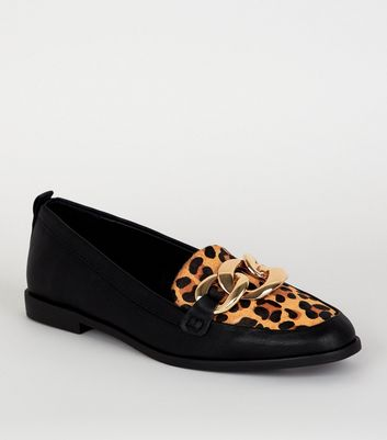 Black Leather Leopard Print Chain Loafers