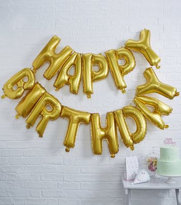 Ginger Ray Gold Happy Birthday Balloon Bunting