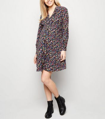 Maternity Black Floral Button Up Tea Dress