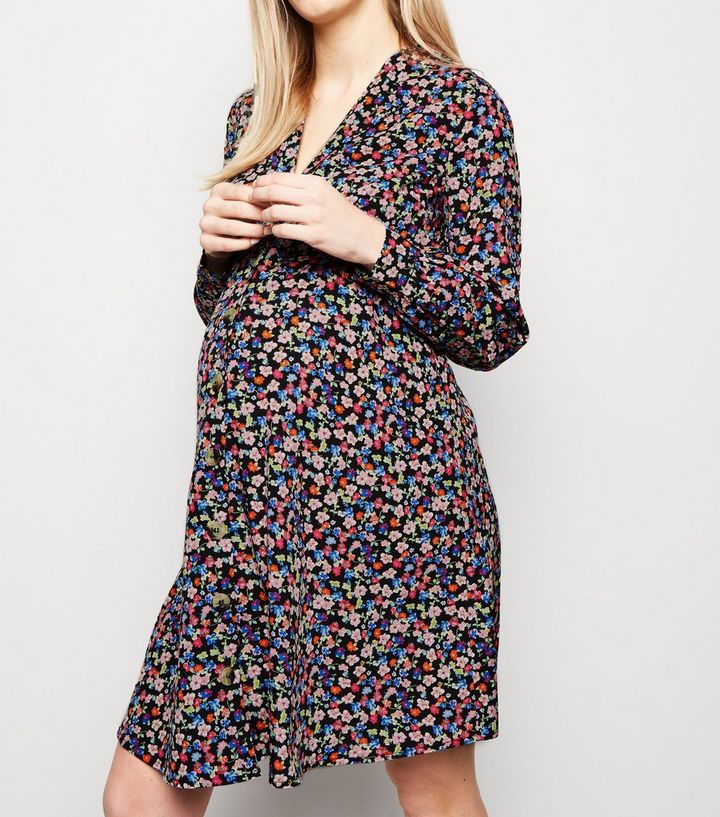 9afec97e902cf ... Maternity Black Floral Button Up Tea Dress. ×. ×. ×. Shop the look