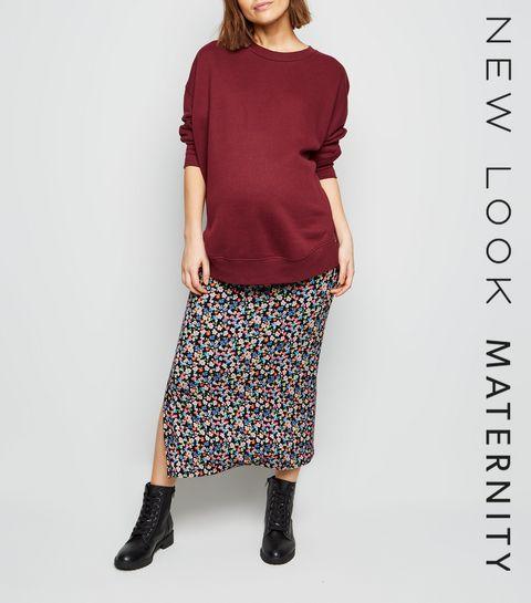 f45f4021f9a23 ... Maternity Black Floral Side Split Midi Skirt ...