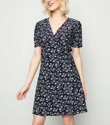 Blue Vanilla Navy Floral Short Sleeve Wrap Dress