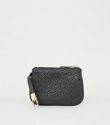 Black Leather-Look Monogram Coin Purse