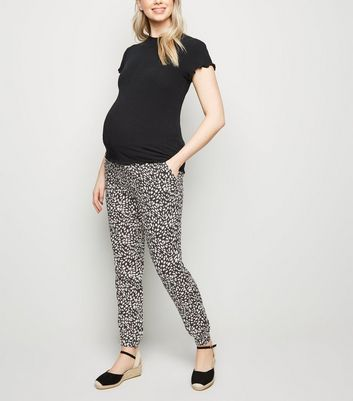 Maternity Black Animal Print Joggers