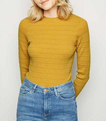 Mustard Ribbed Knit Crew Jumper