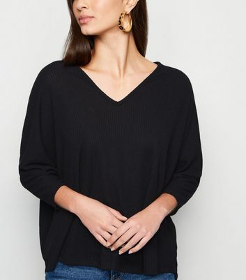Black V Neck Fine Knit Top