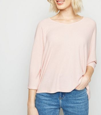 Pale Pink V Neck Fine Knit Top