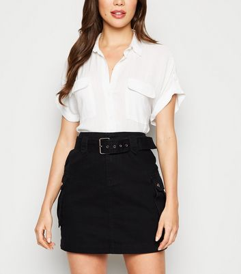 Black Utility Pocket Belted Denim Skirt