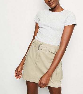 Stone Utility Pocket Belted Denim Skirt