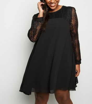 Blue Vanilla Curves Black Lace Sleeve Swing Dress