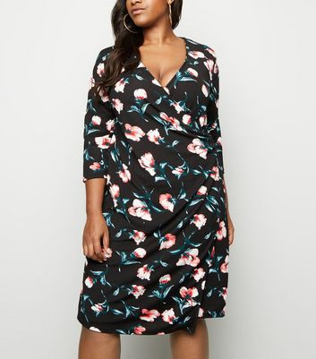 Blue Vanilla Curves Black Buckle Side Wrap Dress