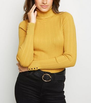 Mustard Ribbed Roll Neck Jumper