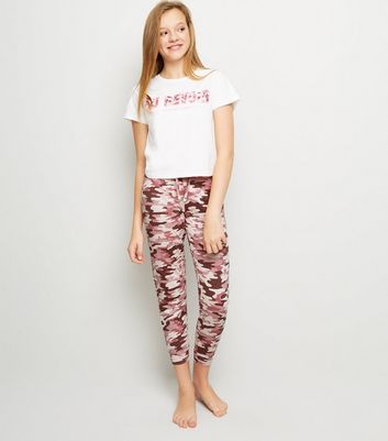 Girls Pink Camo Au Revoir Slogan Pyjama Set