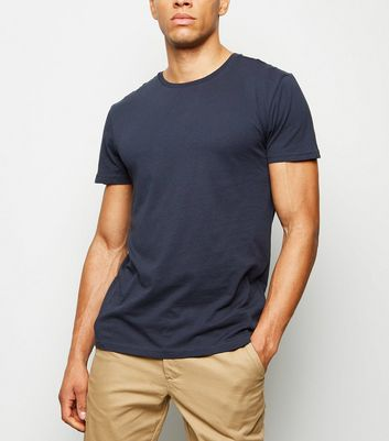 Navy Crew Neck Cotton T-Shirt