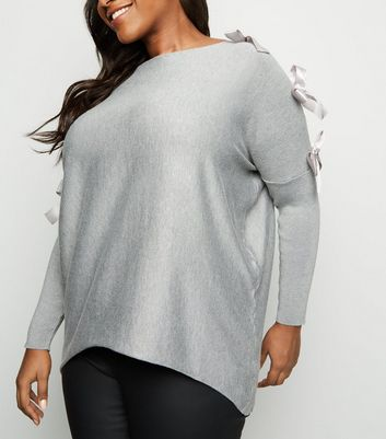 Blue Vanilla Curves Pale Grey Bow Batwing Jumper