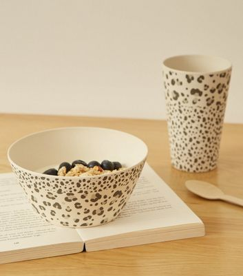 Grey Leopard Print Bamboo Bowl