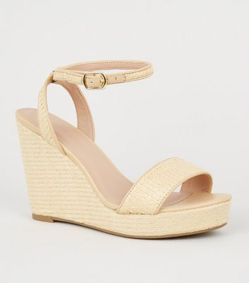 Wide Fit Off White Woven Straw Effect Wedge Heels