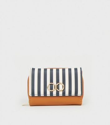 Blue Stripe Ring Front Small Purse