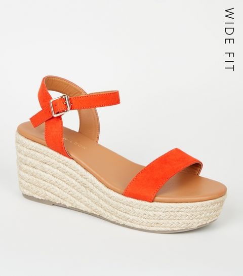e36bf473b0ffbf ... Wide Fit Red Footbed Espadrille Wedges ...