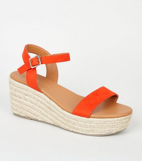 ab19a5bda99 ... Wide Fit Red Footbed Espadrille Wedges ...