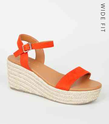 Wide Fit Red Footbed Espadrille Wedges