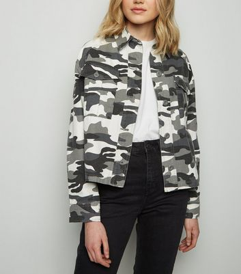 Black Camo Cropped Shacket