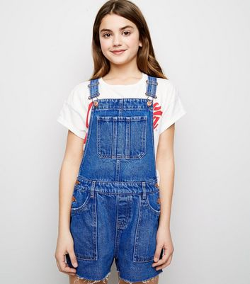 Girls - Salopette avec short en jean bleu vif