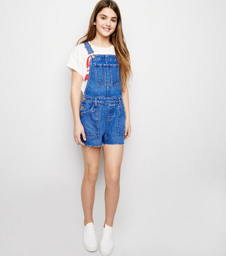 Girls Bright Blue Denim Short Dungarees Add to Saved Items Remove from  Saved Items