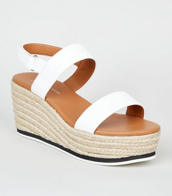 Wide Fit White Leather-Look Espadrille Sandals